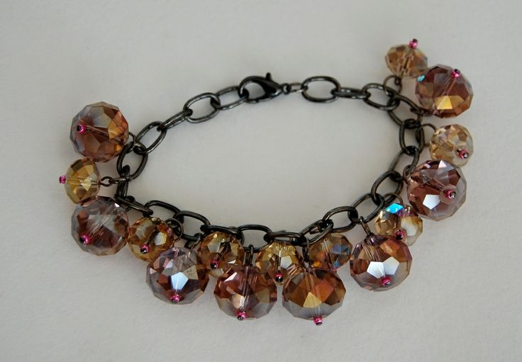 Jewelled Designs - Pink toned crystal drops bracelet, $40.00 (http://www.jewelleddesigns.com/pink-toned-crystal-drops-bracelet/)