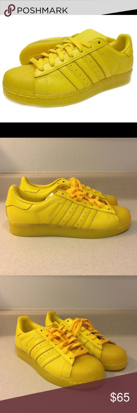 NWT Adidas Superstar Adicolor in YELLOW NWT Adidas Superstar Adicolor in YELLOW. Love these shoes; just don't find myself reaching for them. Theses are a Men's 8.5/Women's 10 Adidas Shoes Sneakers