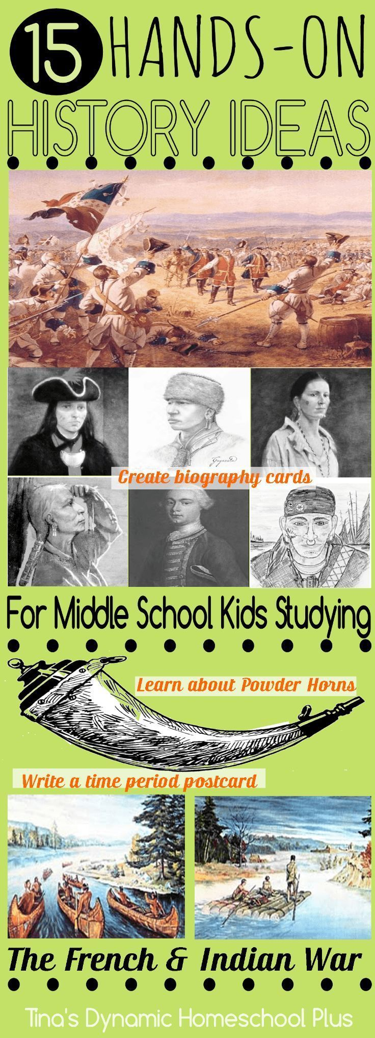 15 Hands-on History Ideas for Middle School Kids Studying The French and Indian War @ Tina's Dynamic Homeschool Plus