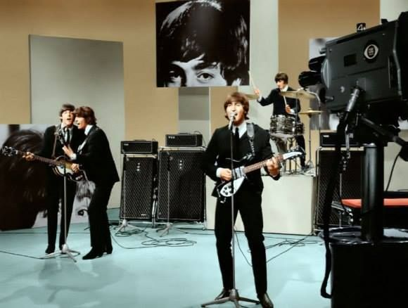 """The Beatles on the Ed Sullivan Show...pre recorded on August 14th...the night before the famous Shea Stadium Show....The song they are playing is """"I Feel Fine"""""""