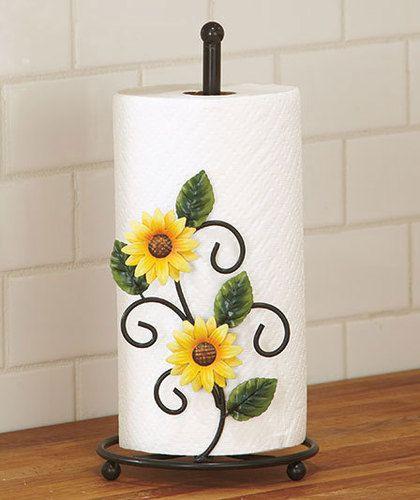 Sunflower Kitchen Decor: Country Yellow Sunflower Kitchen Paper Towel Holder Decor