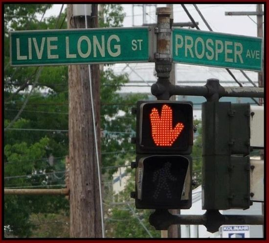 On the corner of Live Long and Prosper.