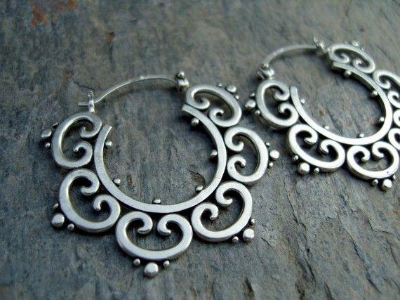 SB Jewelry - Ornate tribal hoops