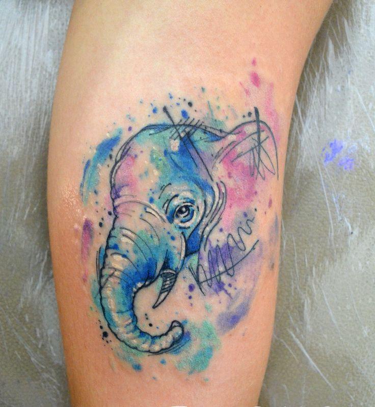 Elefante en Acuarelas by Javi Wolf
