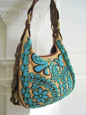 Isabella Fiore Beaded Embroidered Boho Hobo Bag Stunning Handbag Purse | eBay