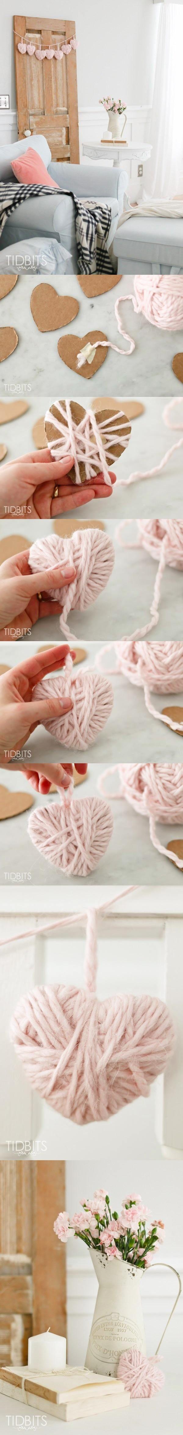 DIY Valentine Yarn Heart - tidbits-cami.com - Decora con corazones de lana DIY