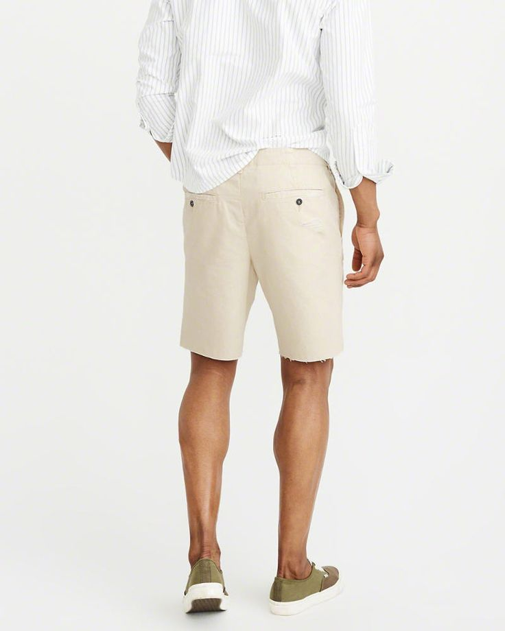 A&F Men's Cutoff Ripped Shorts in RIPPED Cream/White - Size 28