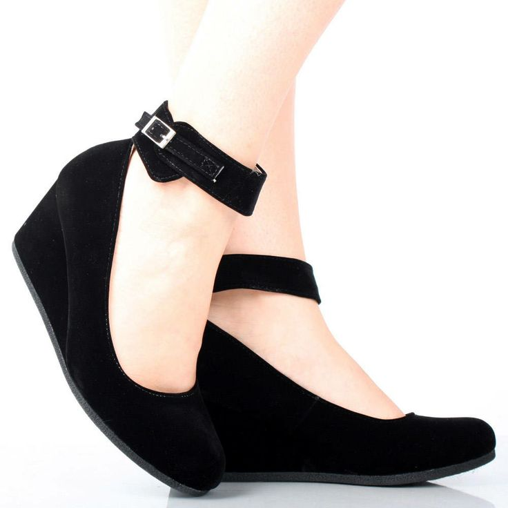 black suede ankle buckle toe womens wedge low