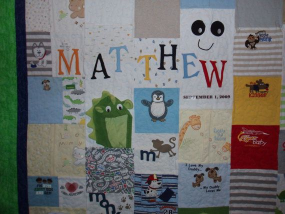 Twin size Baby Clothes Quilt  CUSTOM by BarbMalmTshirtQuilts
