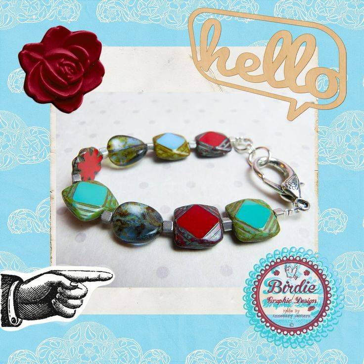 Vrolijke statement armband, rood, turquoise en blauw Czech glas via Birdie By AnneMary Westera
