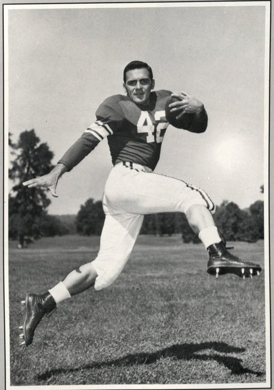 John Pont (43) posing for a shot done by the Miami University Redskins.  Pont led the Miami Redskins with two MAC Championships in 1957 and 1958.