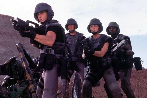 Starship Troopers: okay, so they changed the hispanic characters into caucasians (makes sense? No) and changed the soldiers from being clad in almighty death suits and having tactical skills to plastic-wearing cannon fodder, but it was still good for a laugh.
