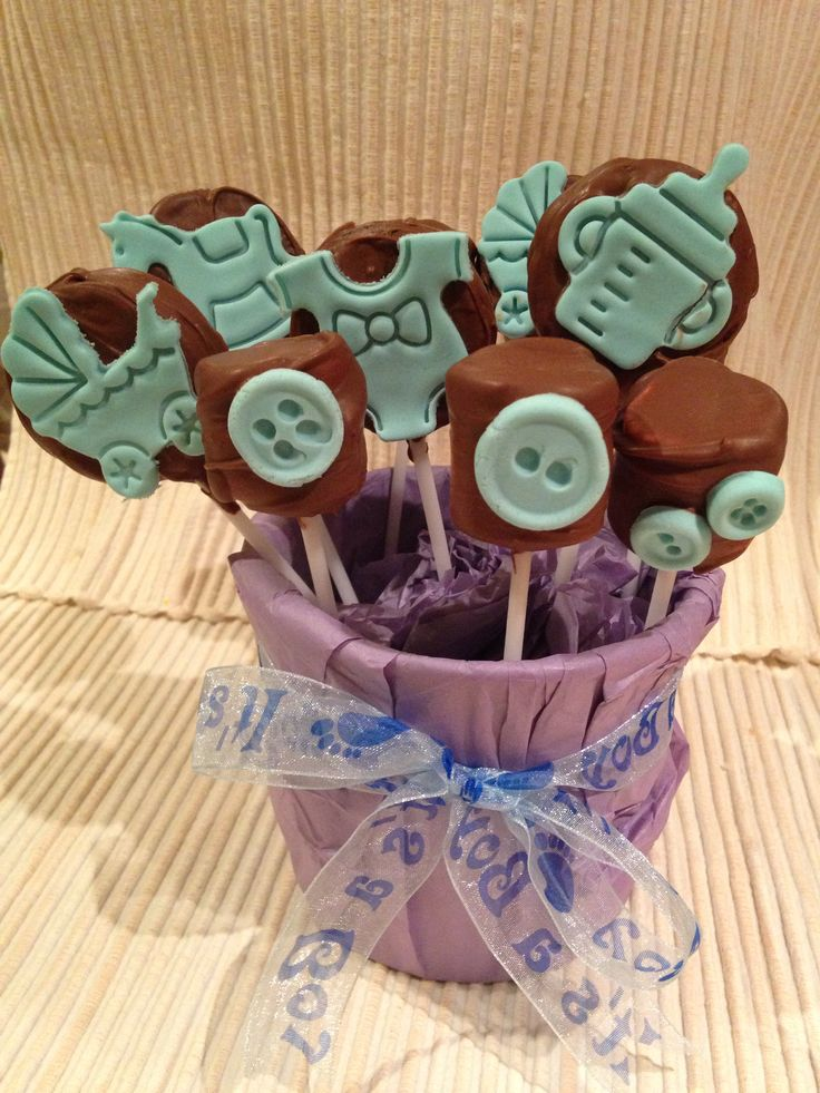 Baby boy themed oreo pops and mallow pops