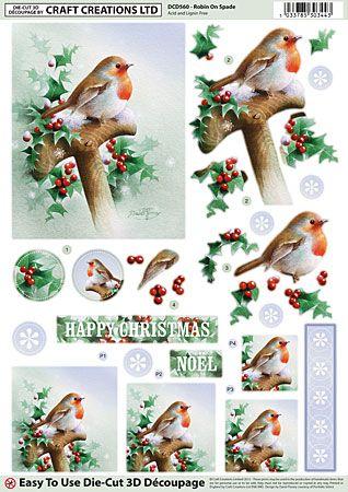 Craft creations a4 die cut decoupage robin on spade christmas pinterest d co de no l - Decoupage papier deco noel ...