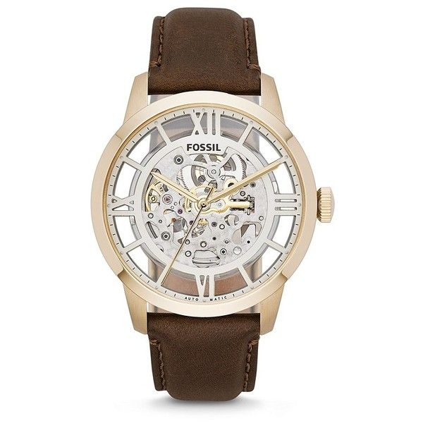 Townsman Automatic Brown Leather Watch (12,720 PHP) ❤ liked on Polyvore featuring jewelry, watches, see through watches, leather watches, brown leather wrist watch, brown leather watches and transparent watches