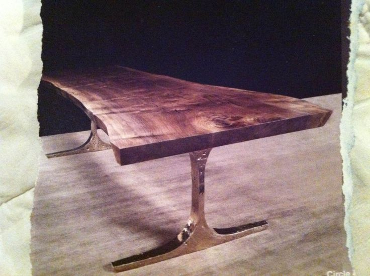 Amazing Dining Table   Raw Edge Wood Top With Shiny, Solid Metal Legs (also