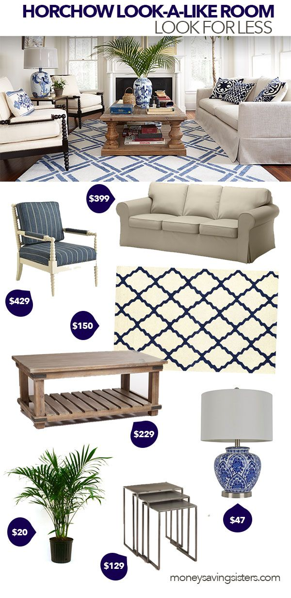 Find out how to re-create this Horchow living room with inexpensive pieces from Target & Pier 1