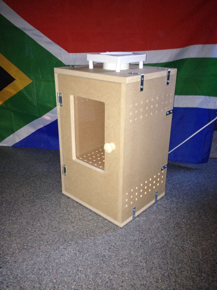 My new box with a window in the front. Check it out on Facebook, Botha Biltong Boxes.