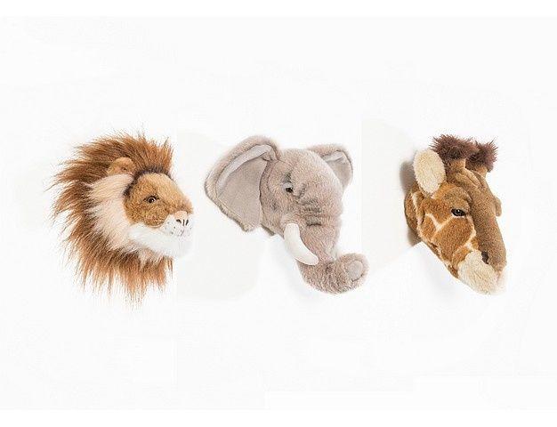 Dierenkoppen Voor Aan De Muur.Set Van Drie Mini Dierenkoppen Leeuw Olifant Giraf Dierenkop Aan