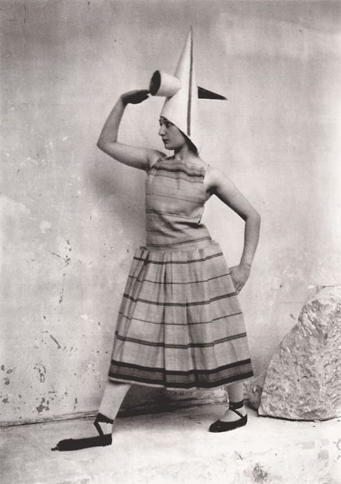 "Constantin Brancusi (Romania 1876 - France 1957); costume designed for Eric Satie's ballet ""Gymnopedies,"" 1922. Modeled by Lizica Codreanu (b. 1901), a Romanian dancer and member of Diaghilev's Ballets Russes, in Brancusi's studio."