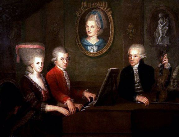 """Family portrait: Maria Anna (""""Nannerl"""") Mozart, her brother Wolfgang, their mother Anna Maria (medallion) and father, Leopold Mozart"""