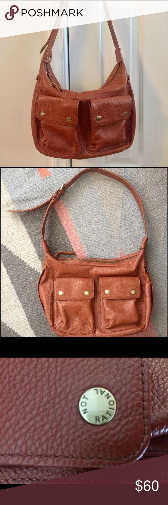 Not Rational brown leather hobo shoulder bag NWOT Beautiful Not Rational Eugenia bag in brown pebbled leather. New without tags. Not Rational Bags Hobos