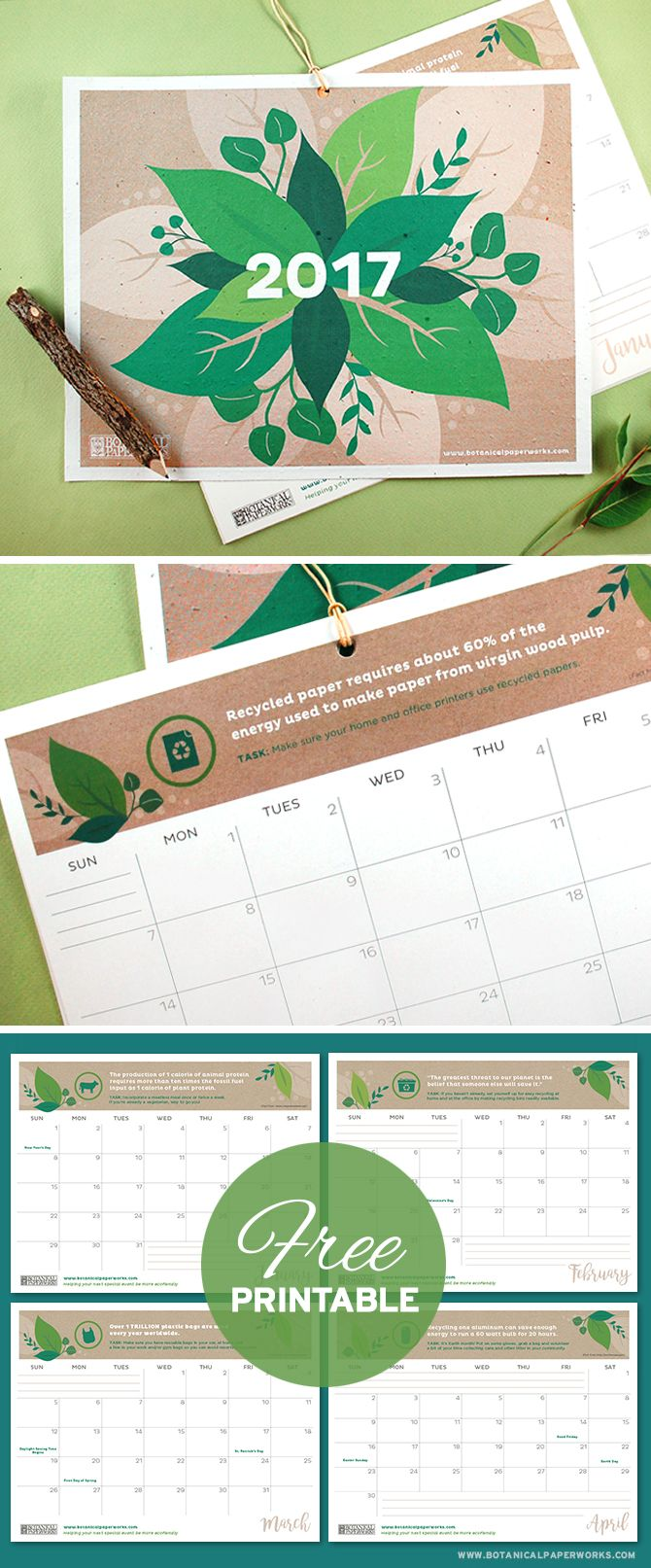 With facts, quotes and tips to help you live a more eco-friendly life, this vibrant #FreePrintable 2017 #EcoTips #Calendar is perfect for those who want to plan a greener future. Simply download and print the PDF at home!