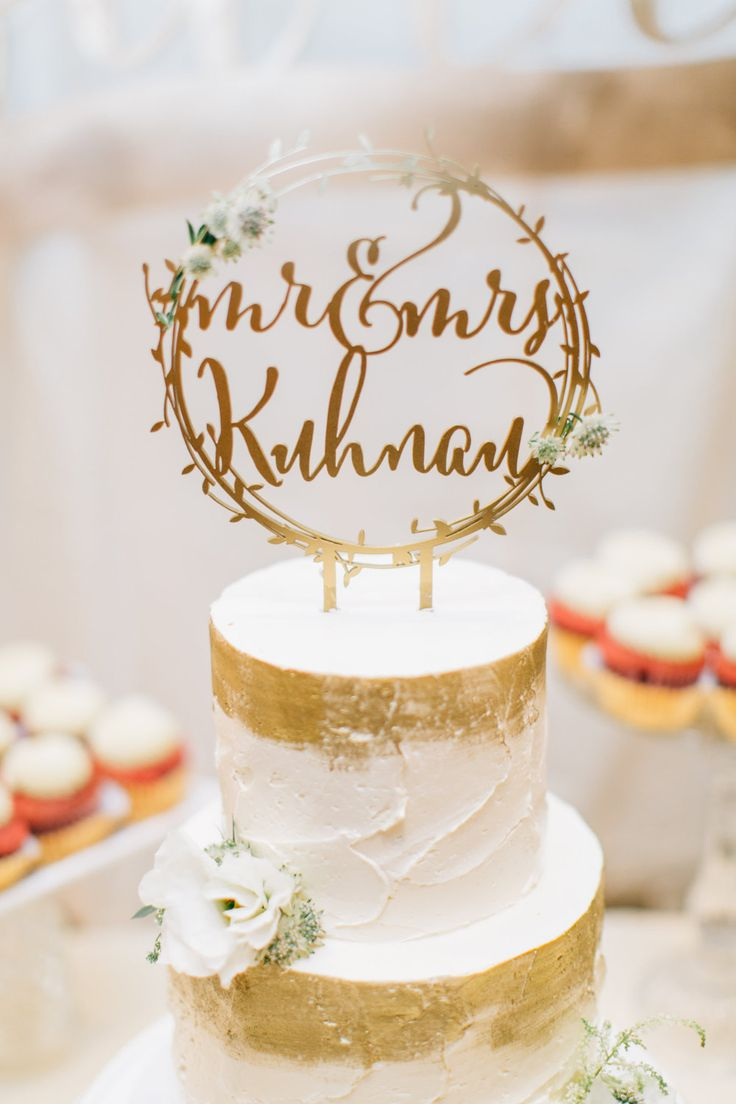 """Laser Cut Rustic Mr. and Mrs. Gold Wedding Cake Topper - (ONE) 8"""" - 10"""" Wood Wedding Cake Topper - Modern Cake Decoration - 1/4"""" Thick"""