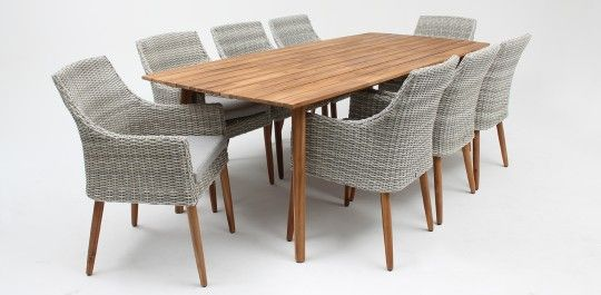 Copenhagen/Faro 9 piece timber dining setting natural white grey/royal stone grey