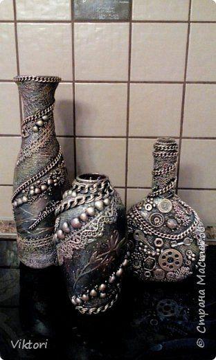 Декор предметов Ассамбляж Вазы в стиле терра и стимпанк Бутылки стеклянные фото 1