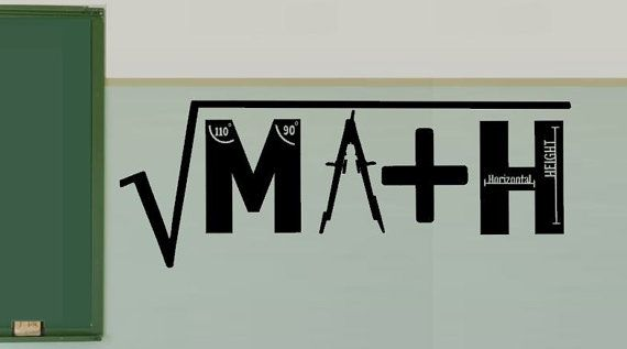 Math Classroom Decal  Math Class  Math Classroom by Wall Decals by Greene's vinyl. Greenesvinyl@gmail.com to order.