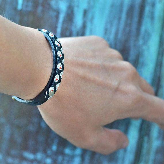 Japanese jewelry. Black leather bracelet. Men. Mens. Womens. Amulet. Kimono. Wrap. Wristband. Minimalist.Birthday gift.Unique. Made in Japan