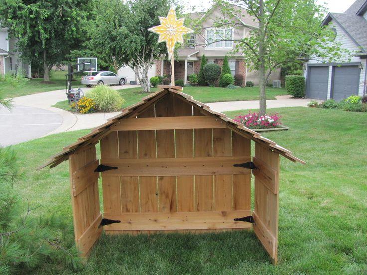 Cedar Nativity Stable Creche Wood Large Xmas Blowmold Star Outdoor Yard Light