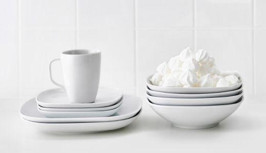 VÄRDERA white porcelain dishes, bowls, mug and plates