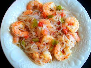Spicy Lime Garlic Shrimp with Shirataki Noodles - 340 calories