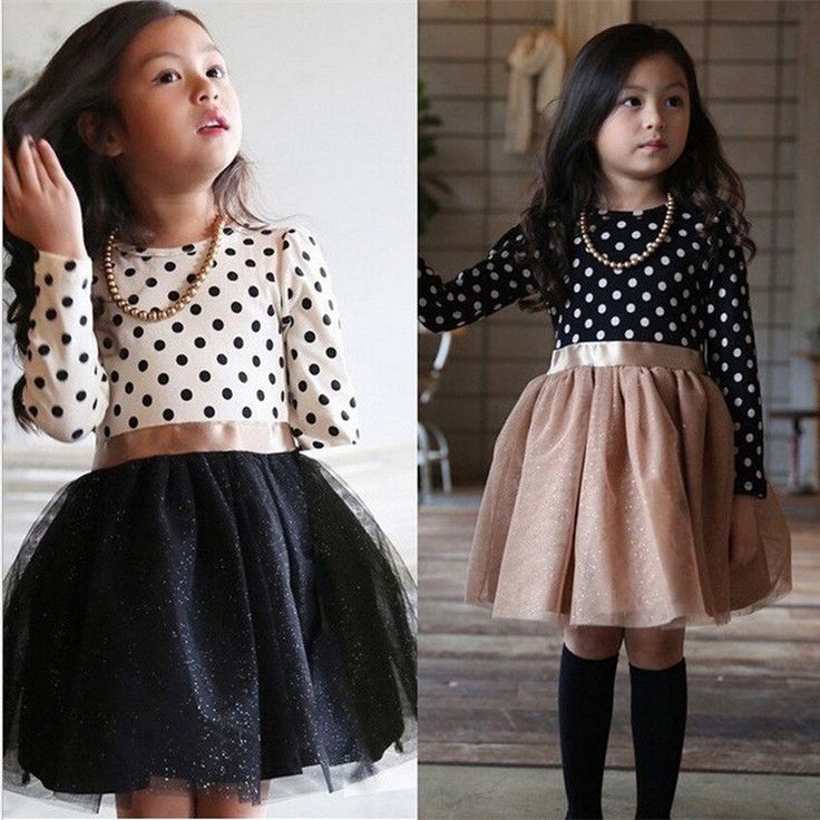 Winter Party Princess Dress Casual Baby Girl Clothes Polka Dot Lace Long Sleeve  #WinterParty #Dress #ChristmasDressyHolidayParty