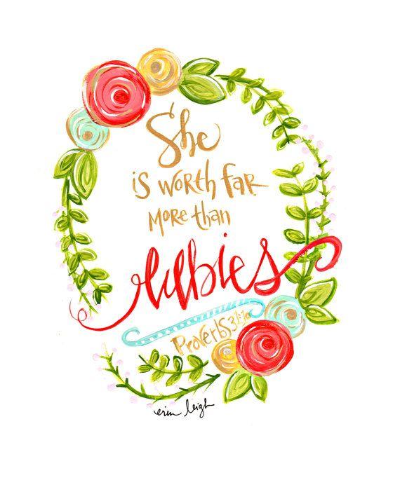 Mothers Day Art. Mothers Day Gift. Scripture Art. Bible Verse. Christian Art. Christian Gift. Fine Art Print. Proverbs 31. Art by Erin Leigh