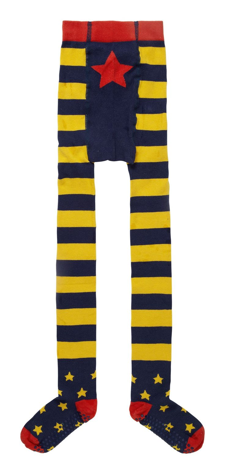 Piccalilly Organic Cotton Navy Blue and Yellow Stripey Baby Crawler Tights
