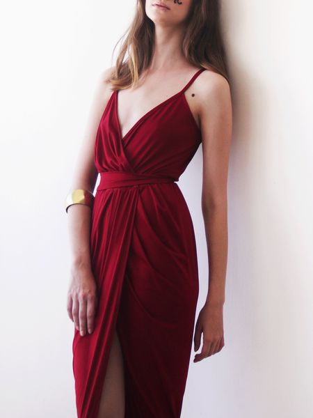 Shop Maxi Dresses - Wine red tulip maxi gown online. Discover unique designers fashion at StyleWe.com.