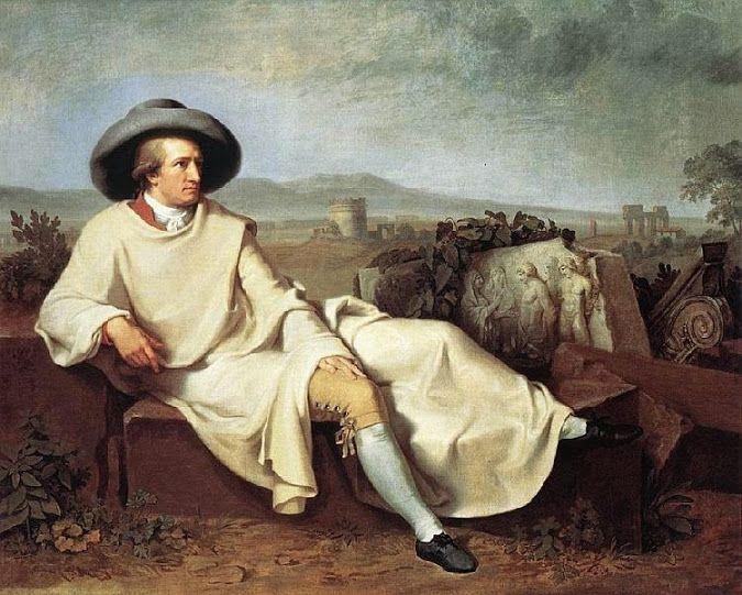 Goethe a Napoli ritratto da Hackert con accanto reperti pompeiani da poco portati alla luce