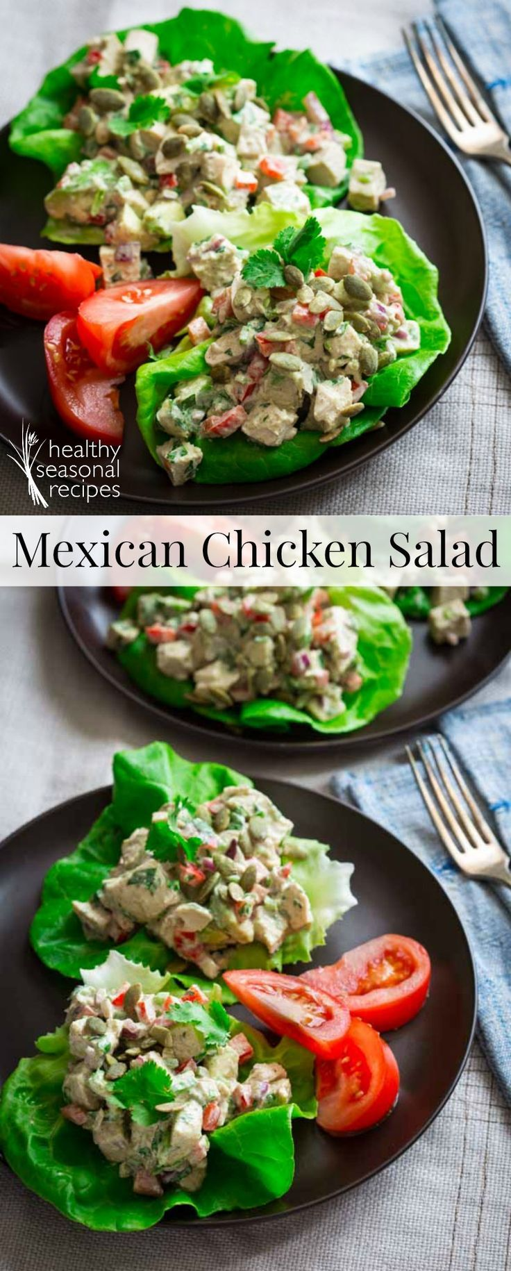 Low Carb Mexican Chicken Salad lettuce cups with Avocado and Pepitas - Healthy Seasonal Recipes