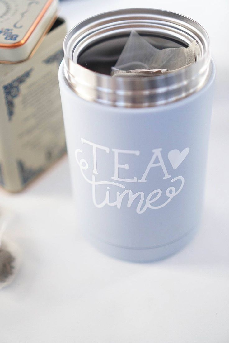 Diy Wellness Gift Idea How To Apply Adhesive Vinyl On A Metal Tea Canister Tea Canisters Diy Wellness Adhesive Vinyl