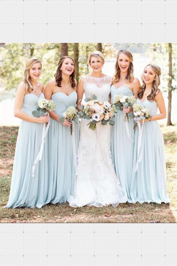 Custom Made Fancy Blue Bridesmaid Dresses Custom Bridesmaid Dresses Ch Bridesmaid Dresses Strapless Bridesmaid Dresses Long Chiffon Pretty Bridesmaid Dresses