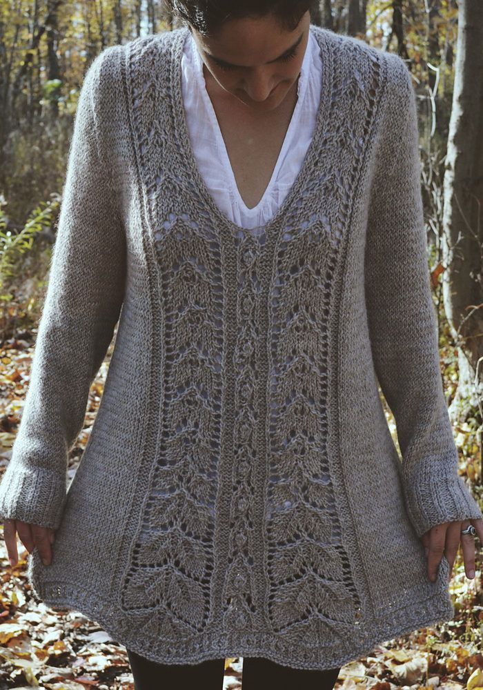 "Knitting Pattern for Meara Tunic - This long sleeved pullover sweater features a flattering A-line silhouette with a lace motif on the front that with a whimsical, romantic feel that gives the hem a scalloped shape. Sizes 39 (42, 45, 48, 51, 54)"" Bust"