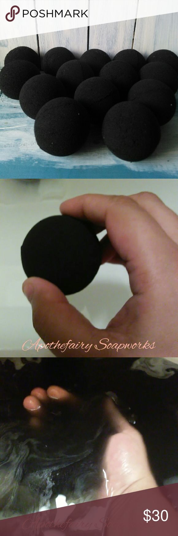 12 Goth Blacker than Black Love Spell Bath Bombs 12 medium sized bath bombs approximately 2 inches wide and 2 inches tall each one weighs approximately 2 ounces or a little bit more. scented in Victoria Secret Love spell dupe.?  These bath bombs are dark in color and will leave you water black according to my testing in the sink. You may need to use more than one to get a dark black.?  These Bath Bombs did not stain my skin or my sink. The ingredients include baking soda citric acid powdered…