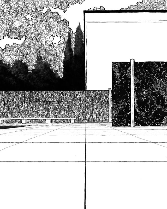 Barcelona Pavilion Spain  Materials: canvas, digital print, computer graphic Category: Digital Original size: (h) 90.0 * (w) 72.0 cm  Printing at a canvas frame