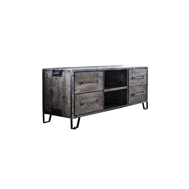 Meuble Tv 4 tiroirs 2 niches 150x46x60cm en manguier et acier