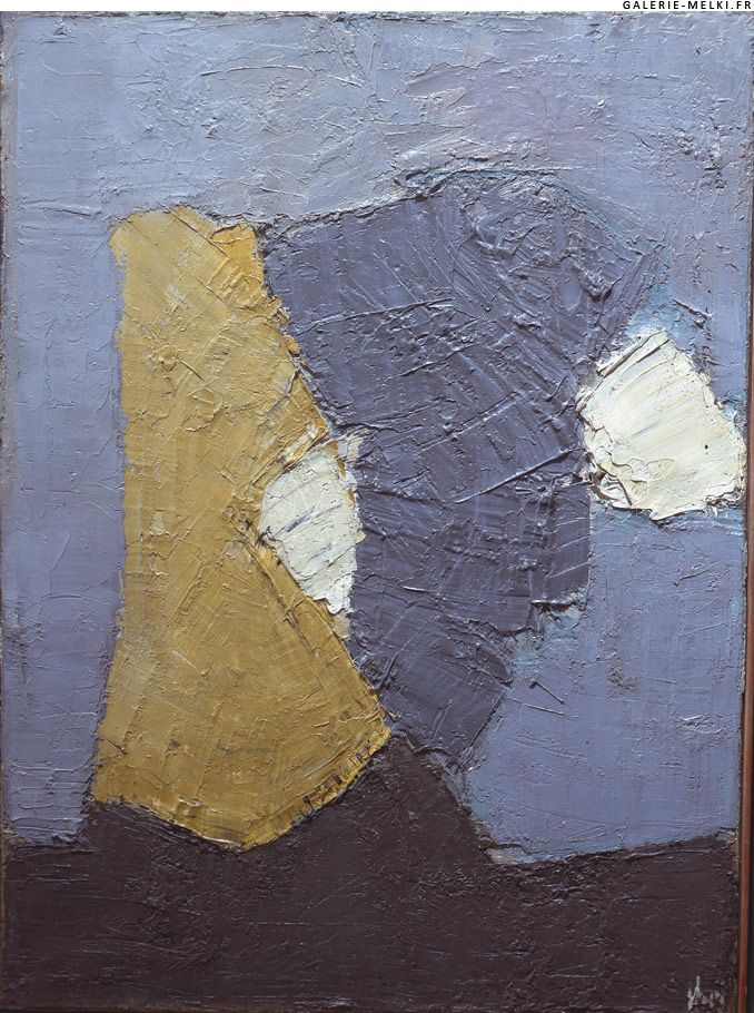 Nicolas de Staël (French nationality, of Russian origin) was a painter known for his use of thick impasto and highly abstract landscapes, figuative works, still life and completely abstract works. His career was cut short in 1955 when he committed suicide at age 41.