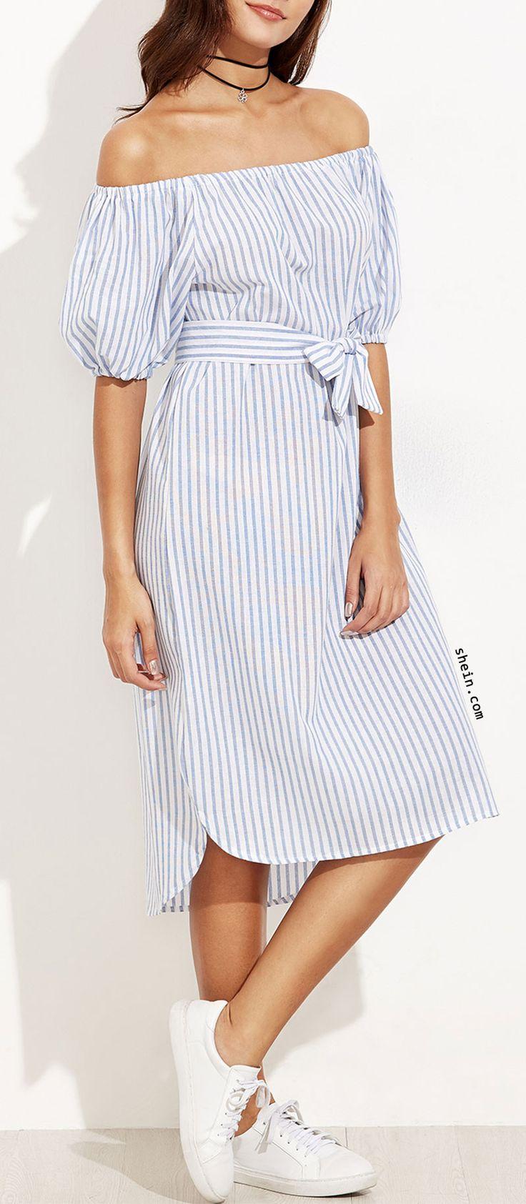 Blue Vertical Striped Off The Shoulder Self Tie Dress