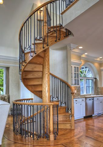 Spiral back staircase out of Kitchen/Family Room...